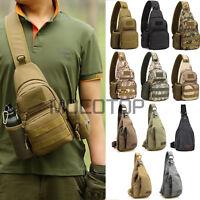 Men Small Canvas Sling Chest Bag Travel Hiking Crossbody Messenger Shoulder Bags