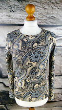 TAIFUN COLLECTION Damen 36 Shirt Paisley Pullover Sommer Silber Beige Blau #204