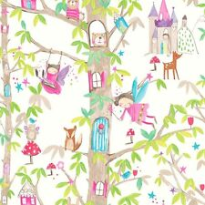 WOODLAND FAIRIES WHITE PINK GLITTER CHILDRENS GIRLS WALLPAPER ARTHOUSE 667001
