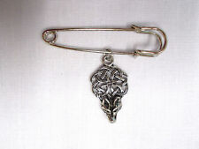 "NEW 2"" SAFETY PIN BROOCH w CELTIC INFINITY KNOT WOLF HEAD PEWTER DANGLING CHARM"