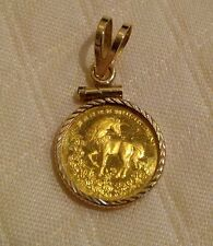 Pure 24k Gold Chinese Unicorn Coin Pendant in 14K YG Bezel & Bail. EUC.
