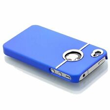 BLUE & SILVER CHROME HARD CASE FOR IPHONE 4 4S 4G With Screen Protector & Cloth