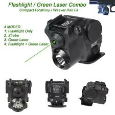 Tactical Compact Green Laser LED Flashlight Combo 4 Mode Fit Standard 20mm Rail