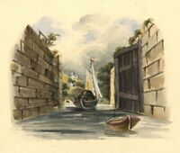 Canal Barge Entering Lock – Original 19th-century watercolour painting