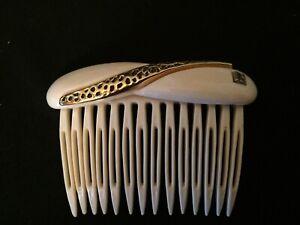 ALEXANDRE de PARIS barrette peigne blanc ivoire et doré