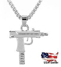 New Silver Tone UZI Machine Gun Stainless Steel Revolver Necklace Chain