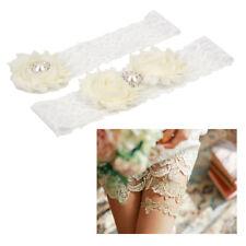 Vintage Rhinestone Flower White Lace Bridal Garter Set Wedding Keepsake Garter