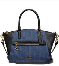New Coach Denim black leather blocked Elise satchel bag blue gold top 89315