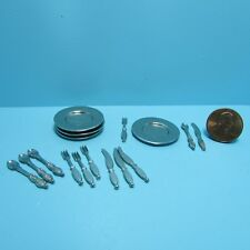 Dollhouse Miniature Complete Dinner Plate & Silverware Set for 4 ~ JOS6293