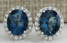 8.70 Carat Natural Topaz 14K White Gold Diamond Earrings