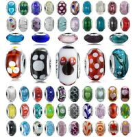 European 925 Silver Murano Glass Charms Bead For Sterling DIY Bracelets Necklace