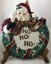 Fitz & Floyd Essentials Santa Ho Ho Ho Christmas Wreath Canape Plate Wall Decor