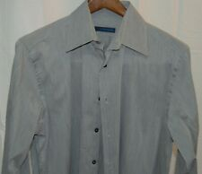 Material London men's solid gray neat French Cuff classy dress shirt, small