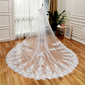 Bridal Veils Cathedral Luxury Full Lace Edge Wedding Accessories for Brides Comb