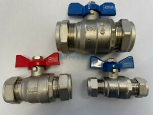 15mm, 22mm or 28mm Compression BUTTERFLY Ball Valve Red / Blue Handle Full bore