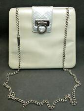 Vintage Salvatore Ferragamo White Leather Handbag Silver Chain Strap #Q 21 1599