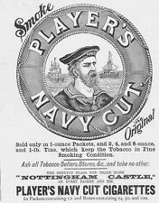 PLAYERS NAVY CUT CIGARETTES Victorian Antique Advert/Print 1892