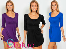 Elegant Women's Mini Dress 3/4 Sleeve Scoop Neck Tunic Sizes 8-18 5006