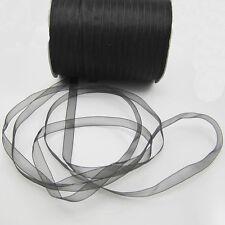 """NEW 50 Yards 3/8"""" Sizes Satin Edge Sheer Organza Ribbon Bow Craft Black Colors S"""