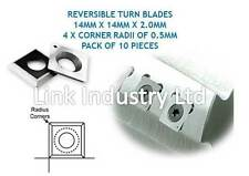 10 PCES. 14 X 14 X 2.0 mm, 4 X 0,5 Mm Esquina Radii, Carburo De Reversible Turn Blades