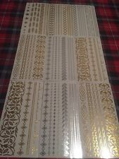 Lot 12 sheets metallic Jewelry Tattoos, For Body, Gold, Silver, New In Box