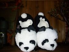 SECRET TREASURES LADIES PANDA SLIPPERS SHOES SIZE 9-10 BLACK WHITE HOUSE SHOES