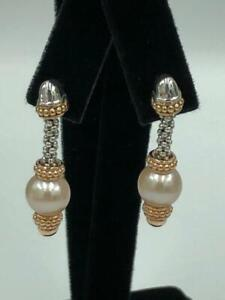 NEW Lagos Sterling Silver 18K Rose Gold Pearl Earrings - Stunning!