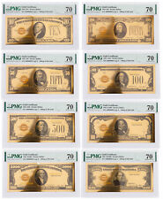 8 Piece Set 1928 $10-$10,000 24KT Gold Certificate Commemorative Set PMG 70 Gem