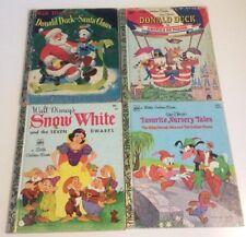 4 Walt Disney Vtg Little Golden Books ~2 Donald Duck~Snow White~Nursery Tales
