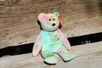 Vintage Ty Peace Bear Beanie Babies Rainbow Color Retired 07/14/1999 Beautiful!!