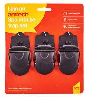 Plastic Mouse Trap Best Vermin Control Classic Design Mice 3Pc Set Reusable New