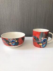 Disney Stitch Christmas China Mug And Breakfast Bowl New
