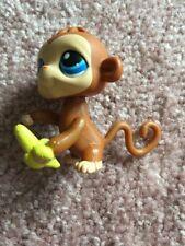 Littlest Pet Shop LPS #86 Monkey Brown With Blue Eye Magic Motion Eating Banana