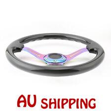 Universal 350mm 14inch Deep Dish 6-Hole ABS Steering Wheel Neochrome Spoke Black