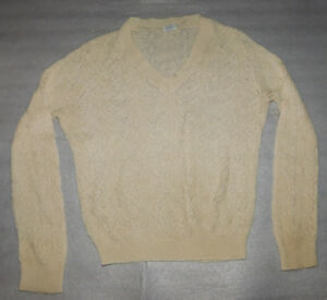 Sears Creamy Ivory V Neck Open Knit Sweater Vintage M Top Ribbed Cuffs Womens