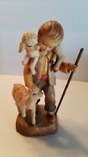 """Anri 6"""" Wood carving """"Peaceful Friends"""" Boy w/ lambs carved & painted in Italy"""
