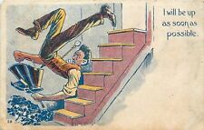 Man Falls Down Steps: Pocket Watch,Coal, Shovel, Scuttle Hod Go Flying~1907 pc