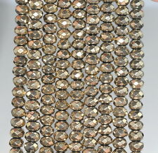 6X4MM HEMATITE GEMSTONE PYRITE TONE FACETED RONDELLE 6X4MM LOOSE BEADS 16""