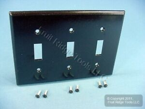 2 Leviton Brown Standard 3-Gang Toggle Switch Cover Wallplate Switchplates 85011
