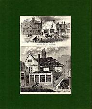 ANTIQUE WOODCU - ADAM & EVE & TOTEN HALL  -  CASSELL'S OLD & NEW LONDON(1880)