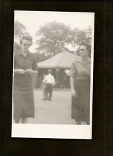 1957 B/W Photo Two Women At Texas State Fair Car Exhibit in Tent 3 x 5