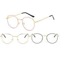 Women Men Retro Vintage Round Eyeglasses Metal Frame Plain Spectacles Glasses