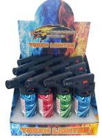 "(12) Jumbo 4""  Jet Flame Torch Lighter Refillable Lockable Windproof WAVE Design"