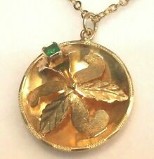 Vintage18k Solid Gold Orchid Flower Motif Round Pendant Accents Genuine Emerald