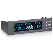 "5.25"" Bay Front LCD Panel 3 Fan Speed Controller CPU Temperature Sensor Computer"