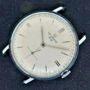 Vintage Helbros 17J Manual Wind Men's Watch Swiss AS 1660 Runs + Jeweled Dial