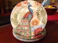 Prima Donna Designs Jennifer Brinley PEACOCK Luncheon/Salad Plates-set of (4)