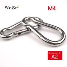 10pcs M4 Stainless Steel 304 Carabiner Carbine Snap Hook Key-Lock