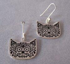 Mexican 925 Silver Taxco SUGAR SKULL Cat Kitty Dia de Muertos Dangle Earrings