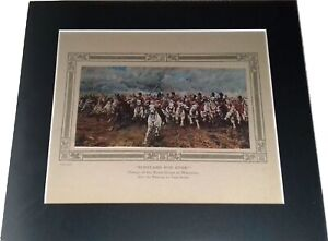 The Charge Of The Scots Greys At Waterloo  Scottish Antique Engraved Print